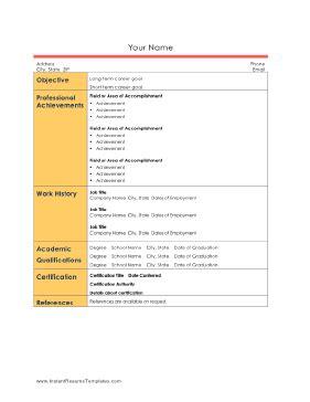 Informal Professional Resume Sidebar Template Informal Resume Template