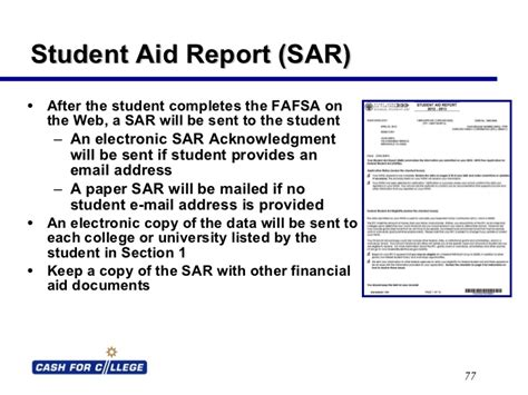 sle student aid report student aid report sle fafsa on the web powerpoint