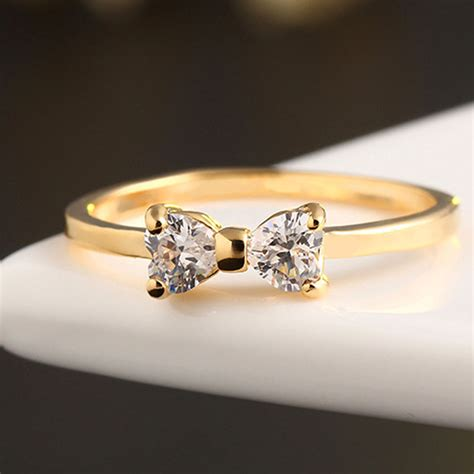 wedding finger ring fashion austria cz rings gold plated