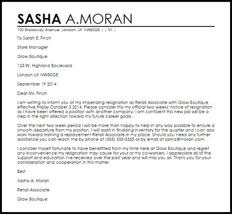 Resignation Letter Sle Uk by Retail Resignation Letter Resignation Letters Livecareer