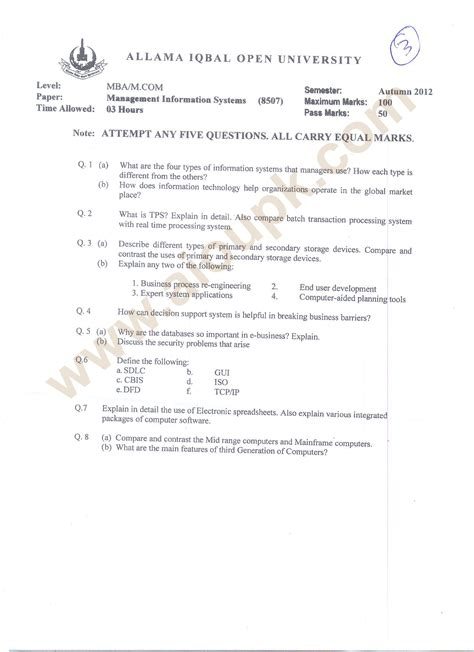 Kenyatta Mba Past Papers by Management Information Systems Code 8507 Mba M
