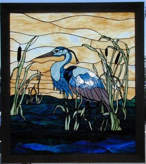 stained glass pattern blue heron custom stained glass window photos etched and mosaic