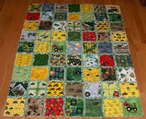 Deere Quilt by Rag Quilt 32 Different Deere Fabric Lge 45 X 57 By