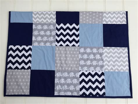 Cot Quilts by Baby Boy Navy Blue Baby Blue Grey Elephant Patchwork
