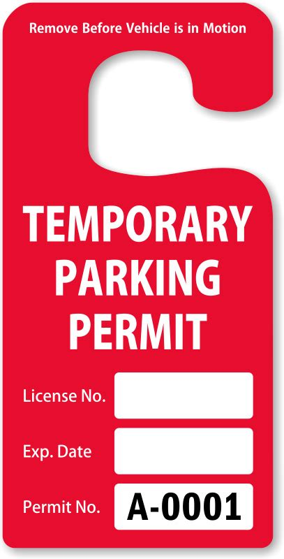 Parking Hang Tags Design Online At Myparkingpermit Parking Pass Template