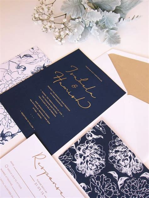 wedding invitations navy and gold navy and gold wedding invitation deposit 2457374 weddbook