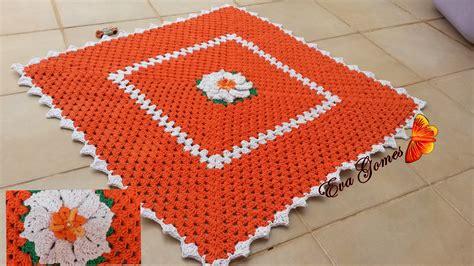tapete quadrado para sala tapete em croche quadrado para sala zoom tapete de croch 234 quadrado com flor eva gomes queiroz elo7