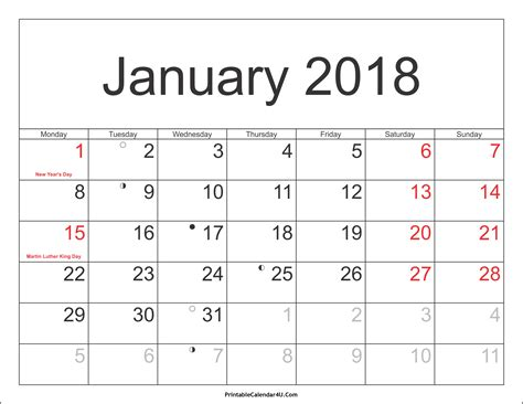 printable calendar jan 18 january 2018 calendar with holidays monthly printable