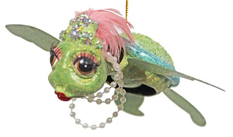 blue flamboyant sea turtle glitter christmas ornament