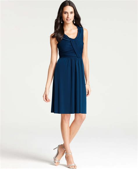 blue marc bulger 10 jersey shopping guide p 1116 satin jersey draped scoop neck dress in