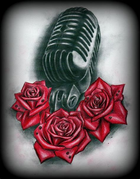 music rose tattoo designs microphone and roses design by