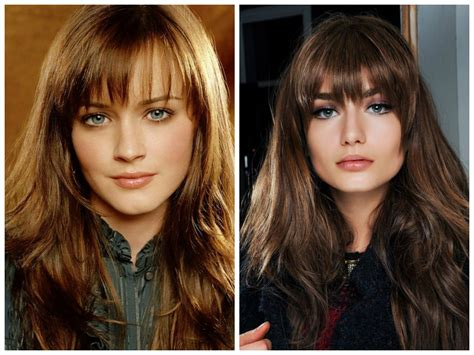 difference between blunt and rounded bangs different long fringes for long hair women hairstyles