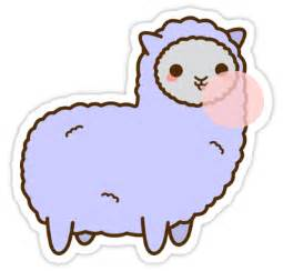 Large Animal Wall Stickers quot kawaii alpaca blowing bubble gum quot stickers by