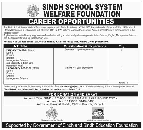 in sindh education foundation 16 april 2018