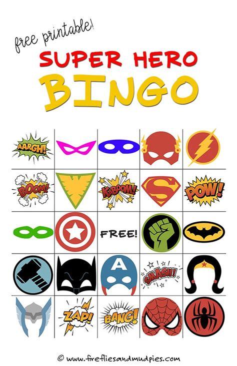 superhero themed games free printable super hero bingo party bingo games bingo