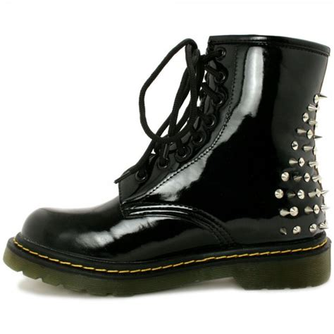buy armageddon flat spike stud ankle boots black patent