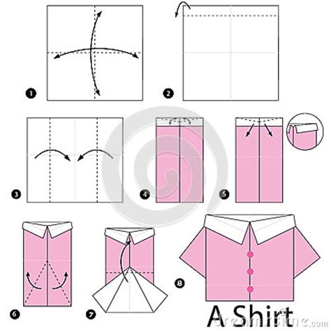 How To Make A Paper Shirt - step by step how to make origami shirt stock