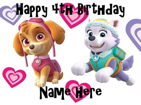 Cake Topper Paw Patrol New paw patrol and everest edible icing cake toppers