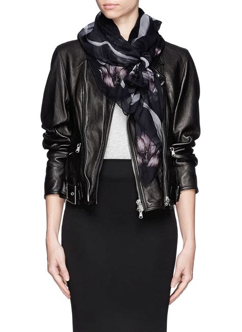 mcqueen skull silk scarf on sale