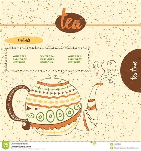 design menustrip c card with sketched cute teapot for menu design or web