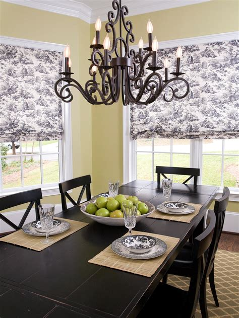 Window Curtains For Dining Room Decor Rustic Calmness With Country Window Treatments Four Impressions
