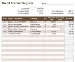Bank Register Template by Credit Account Register Template
