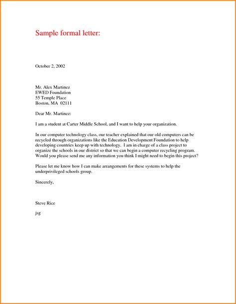 business letter format for students 8 formal letter format sle for student financial