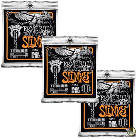 Terbatas Senar Ernie Slinky Top Heavy Bottom Original Usa ernie 3115 coated sthb top heavy bottom slinky strings 10 52 3 pack ebay