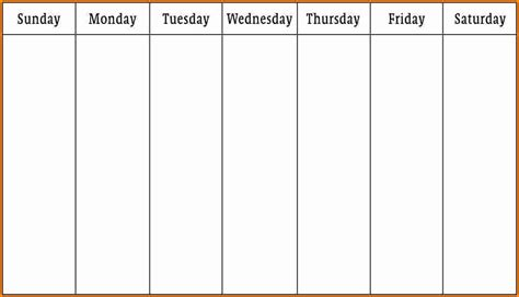 1 Week Calendar Template week family feud