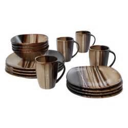 brown set hometrends 16 bazaar brown dinnerware set walmart