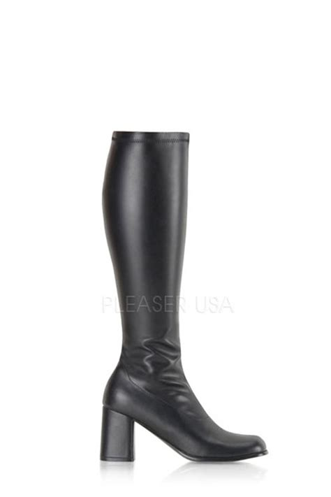 black chunky heel gogo boots faux leather