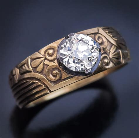 antique russian 1 23 ct diamond solitaire mens ring