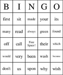 second grade dolch sight words bingo cards