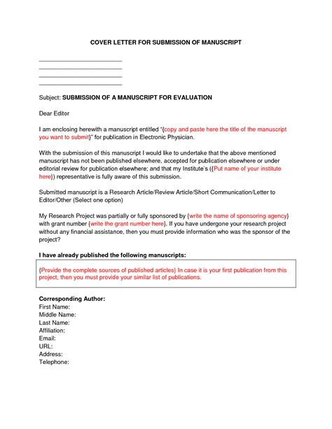 Sle Cover Letter Submittal Cover Letter For Publication The 100 Images How To