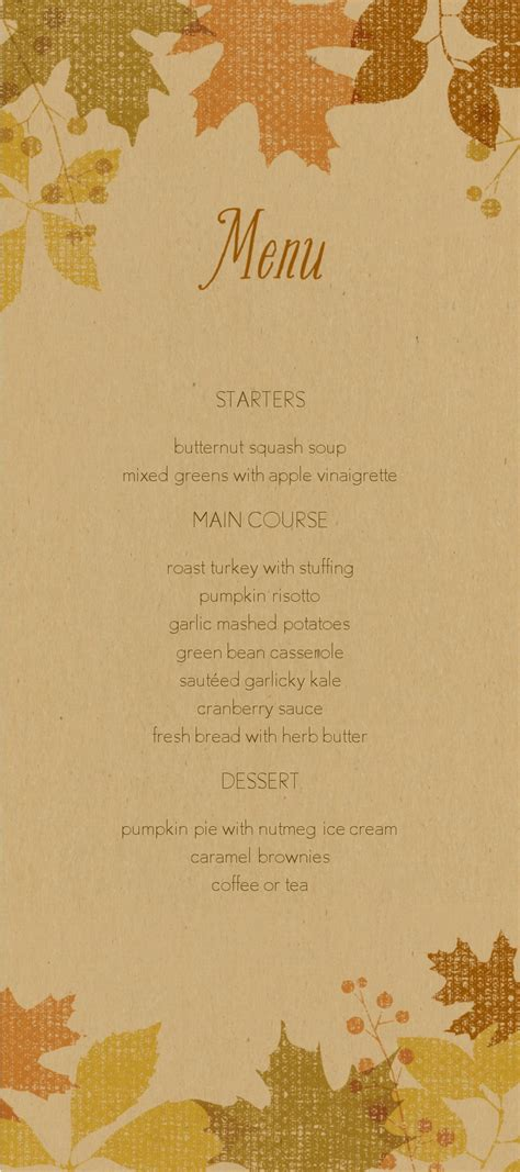fall menu template fall leaves thanksgiving menu