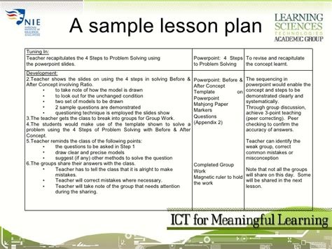 singapore math lesson plan template session04 ict for meaningful learning lesson planning
