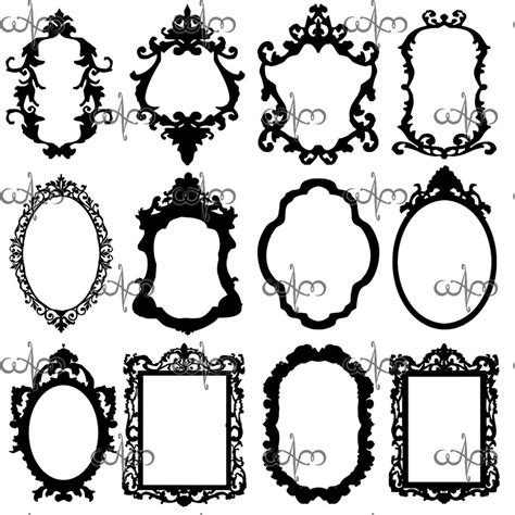Frame Pattern Decor | baroque frames clip art graphic design pattern for your