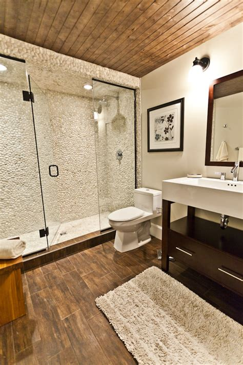 wood look tile bathroom bathroom with wood tile floor home design elements