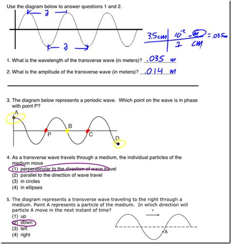 Transverse Waves Worksheet Answers