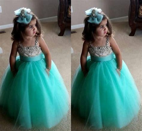 Dress Princess Kid Maroon Mint mint green flower dresses 2016 a line spaghetti beaded crystals fluffy tulle