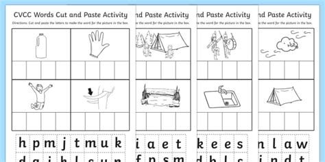 summer cut and paste worksheets cvcc cut and paste worksheet cvcc cut paste worksheet