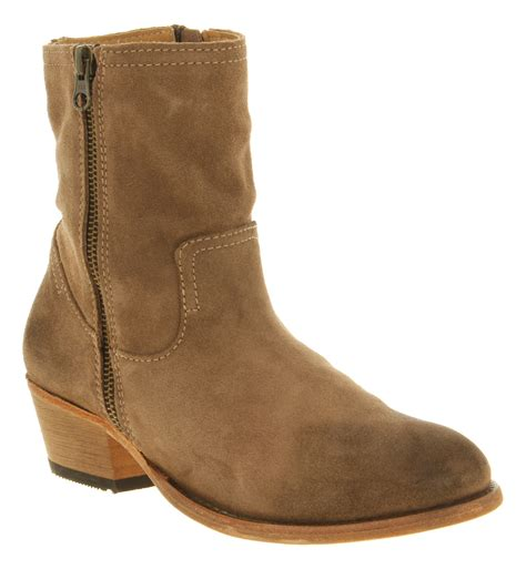 womans suede boots womens h by hudson zip ankle boot beige suede boots