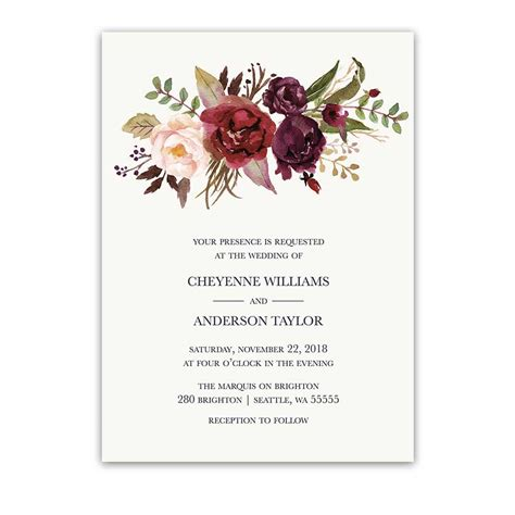 Floral Wedding Invitations by Floral Watercolor Wedding Invitations Burgundy Wine