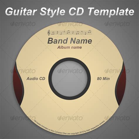 cd artwork template guitar style cd template graphicriver