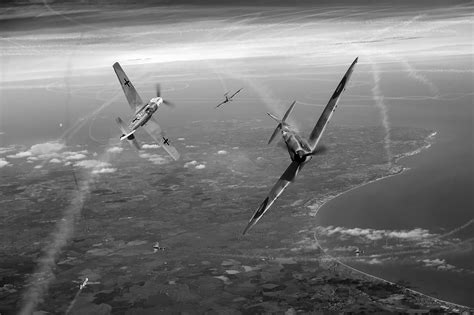 spitfire ii v vs bf gary eason s flight artworks battle of britain duellists spitfire and bf 109 bw version