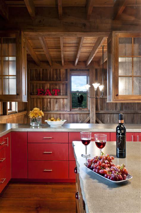 barn red kitchen cabinets german style bank barn conversion farmhouse kitchen