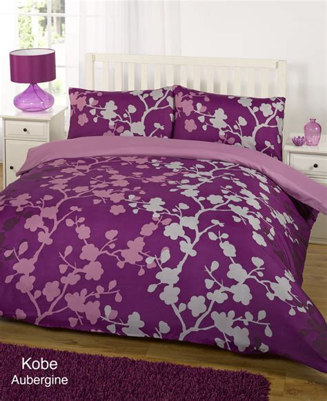 duvet quilt cover bedding set purple single king
