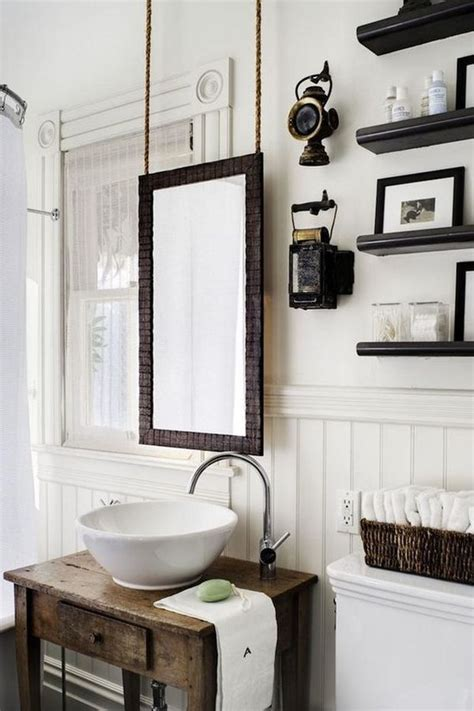 how to hang a bathroom mirror with a frame add rustic charm to your home with rope hanging accent
