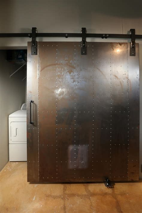 steel barn door industrial doors an accent in modern home interior design