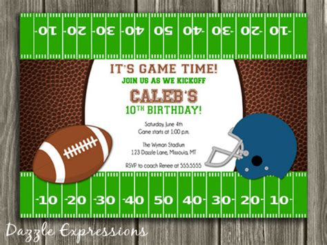 football birthday card template free printable football birthday invitations dolanpedia